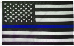 USA Thin Blue Line Embroidered Flag 2x3ft