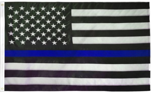 USA Thin Blue Line Embroidered Flag 3x5ft