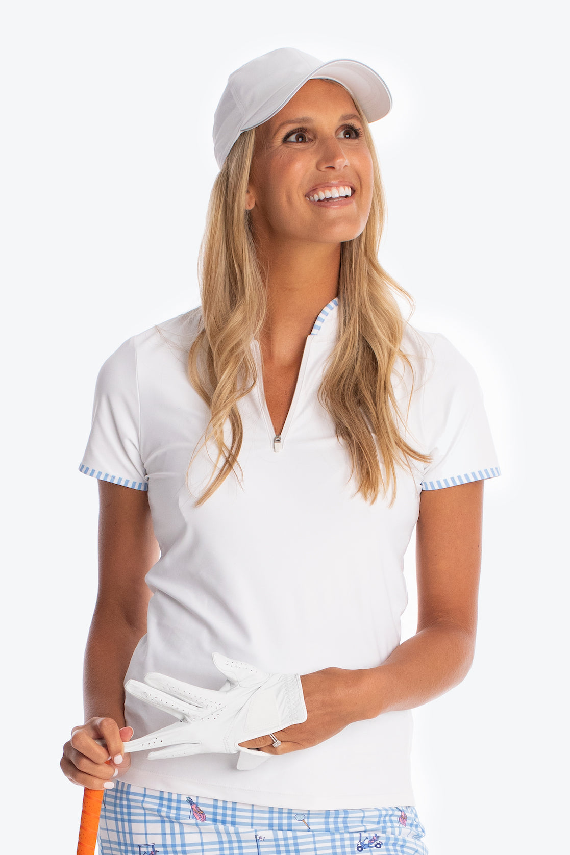 The Hannah Top - White with Cornflower Stripe