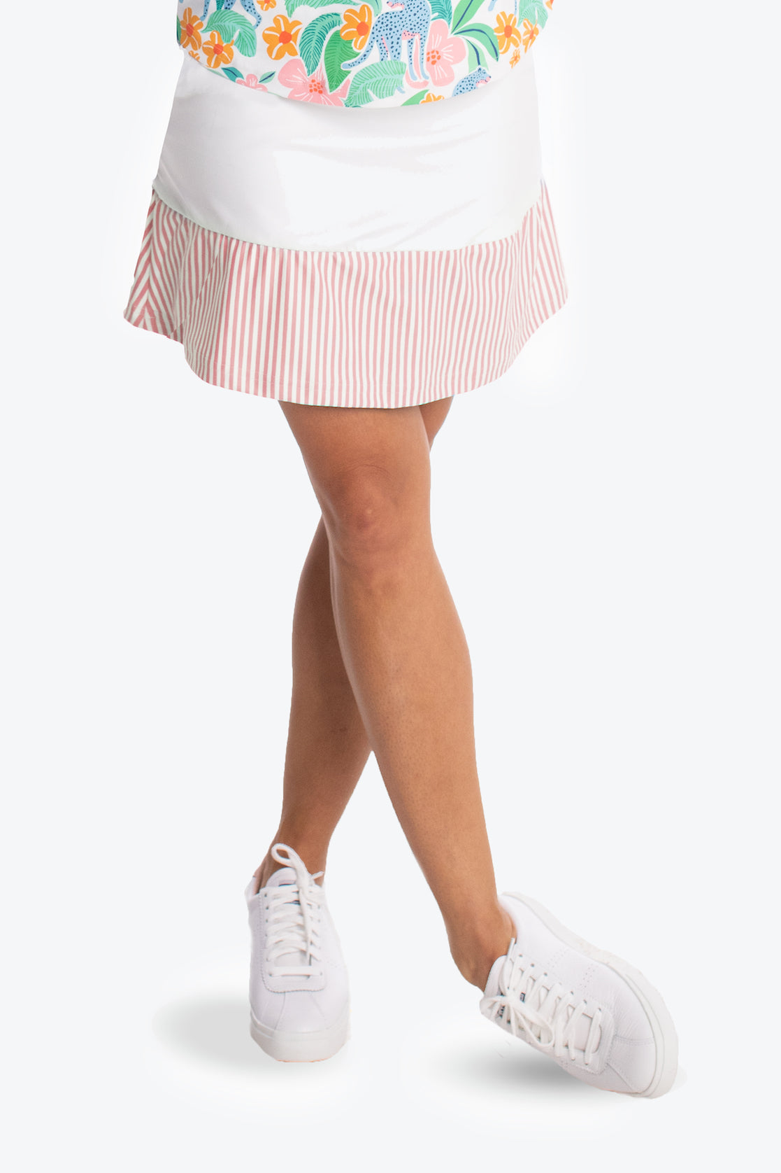 The Molly Skort - White with Strawberry Stripe