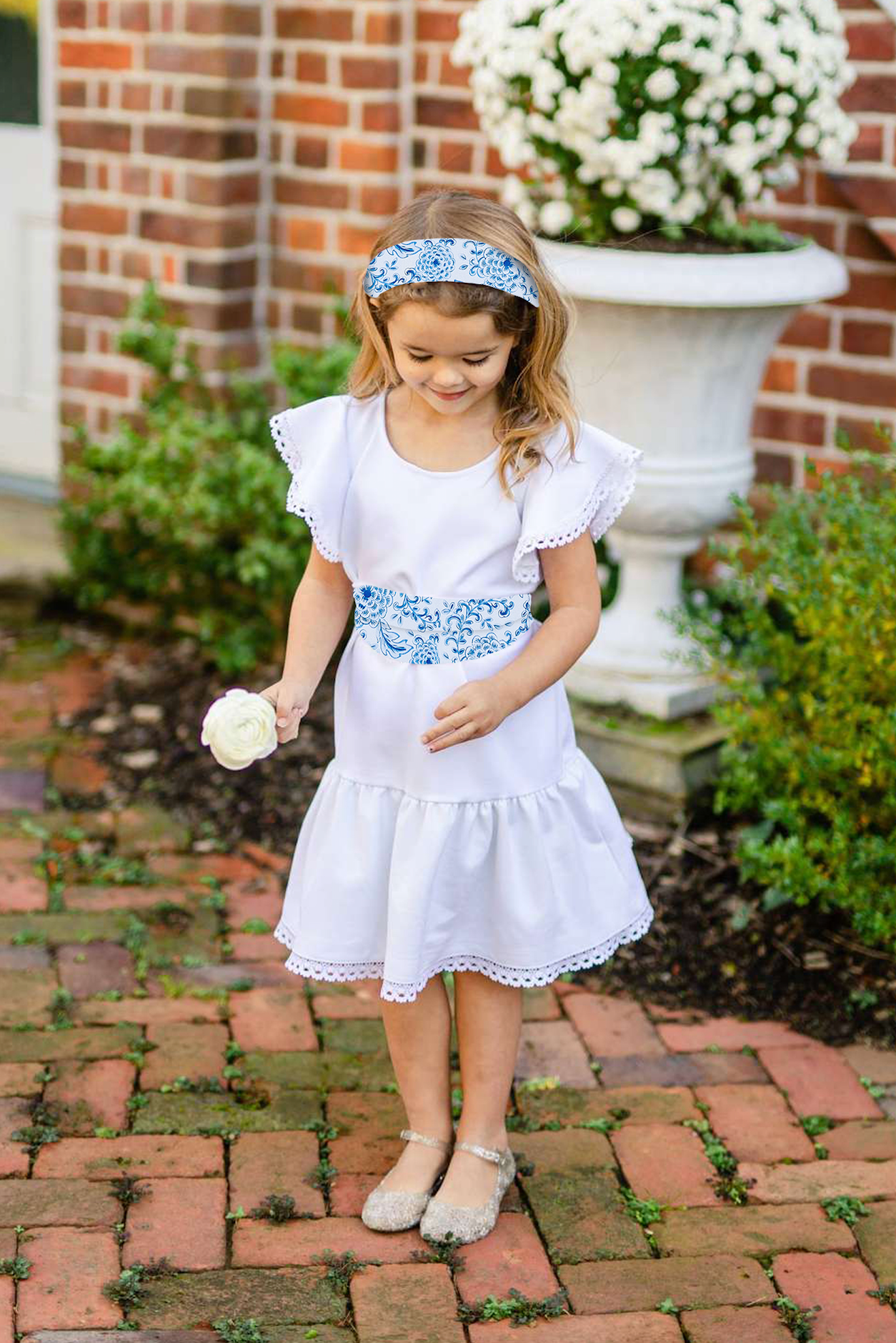 Little Flora - White w/ Zinnia Love Sash