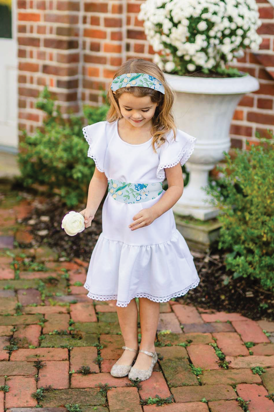 Little Flora - White w/ Craspedia Darling Sash