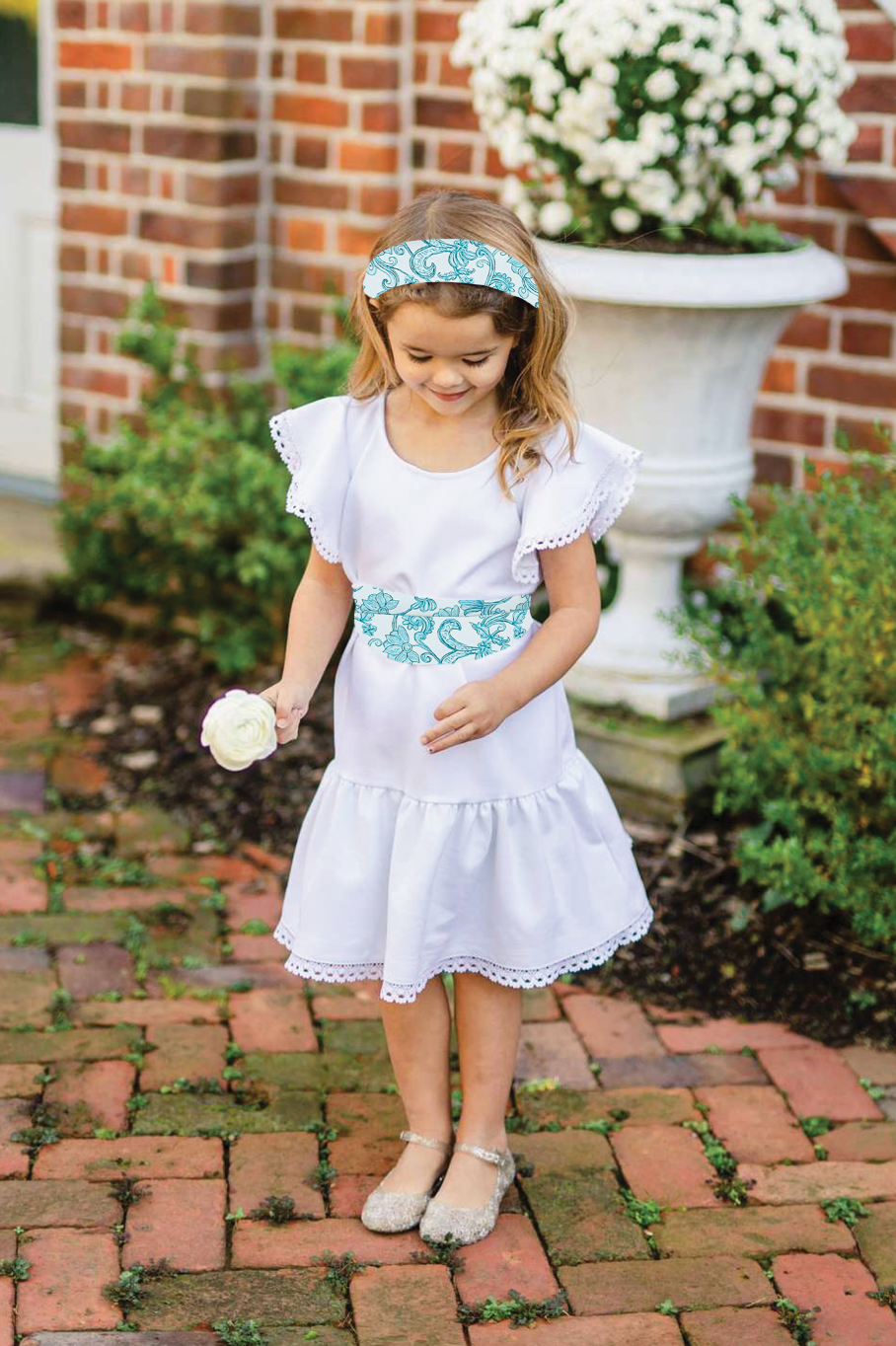 Little Flora - White w/ Pacific Flora Sash