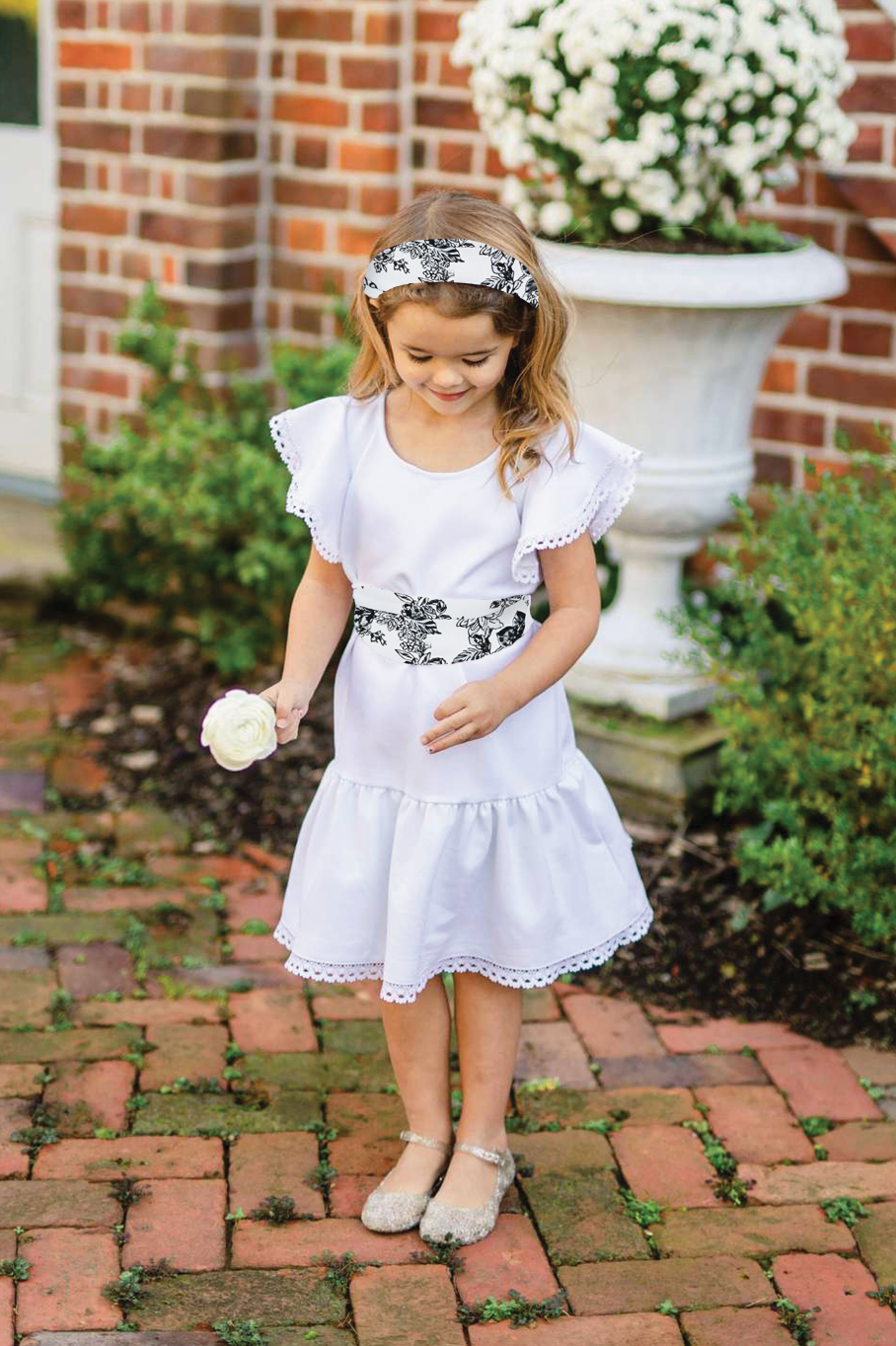Little Flora - White w/ Nightfall Romance Sash