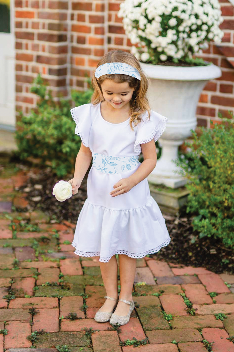 Little Flora - White w/ Dusty Bloom Sash