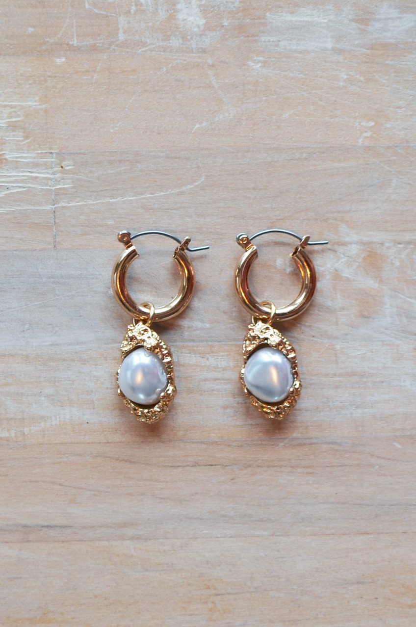 Vintage Inspired Gold and Pearl Charm Earrings