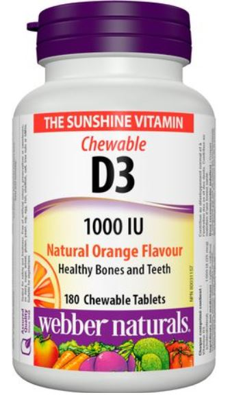 Vitamin D3 Chewable Orange Flavour, 1000 IU (180 Chewable tablets)