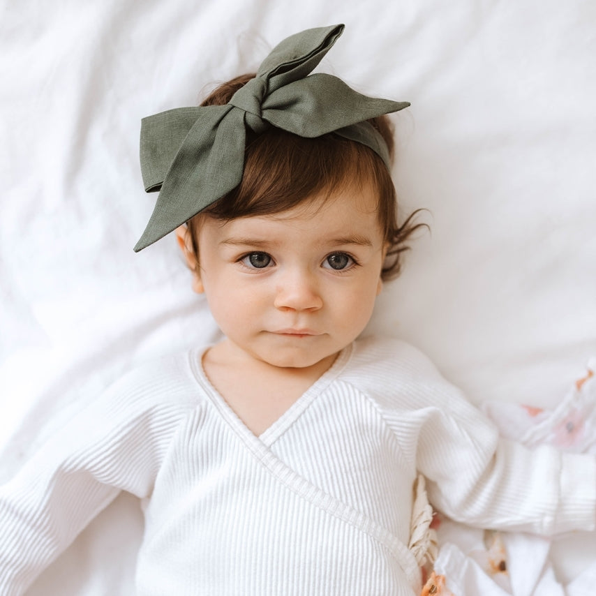 Load image into Gallery viewer, Dusty Olive Bow Pre-Tied Headband Wrap
