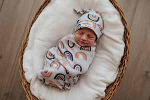 Load image into Gallery viewer, Sunset Rainbow Snuggle Swaddle Sack & Beanie Set