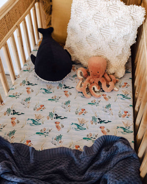 Whale Fitted Cot Sheet