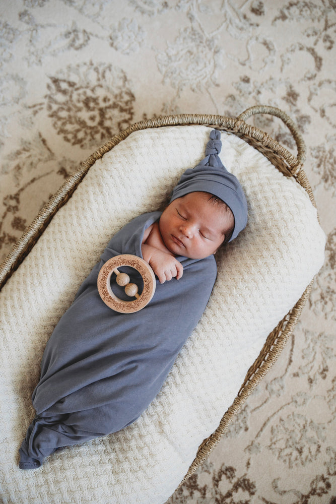 Load image into Gallery viewer, Indigo Baby Jersey Wrap & Beanie Set