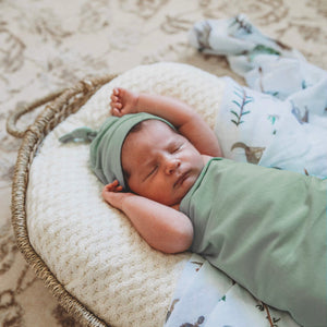 Load image into Gallery viewer, Sage Baby Jersey Wrap & Beanie Set