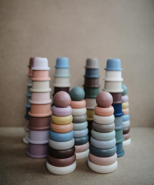 Mushie Stacking Rings Toy - Rustic Colours