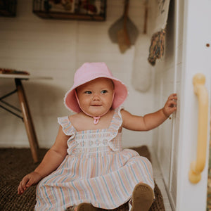 Load image into Gallery viewer, Toddler Bedhead Hats Bucket Hat - Blush Ruffle Trim