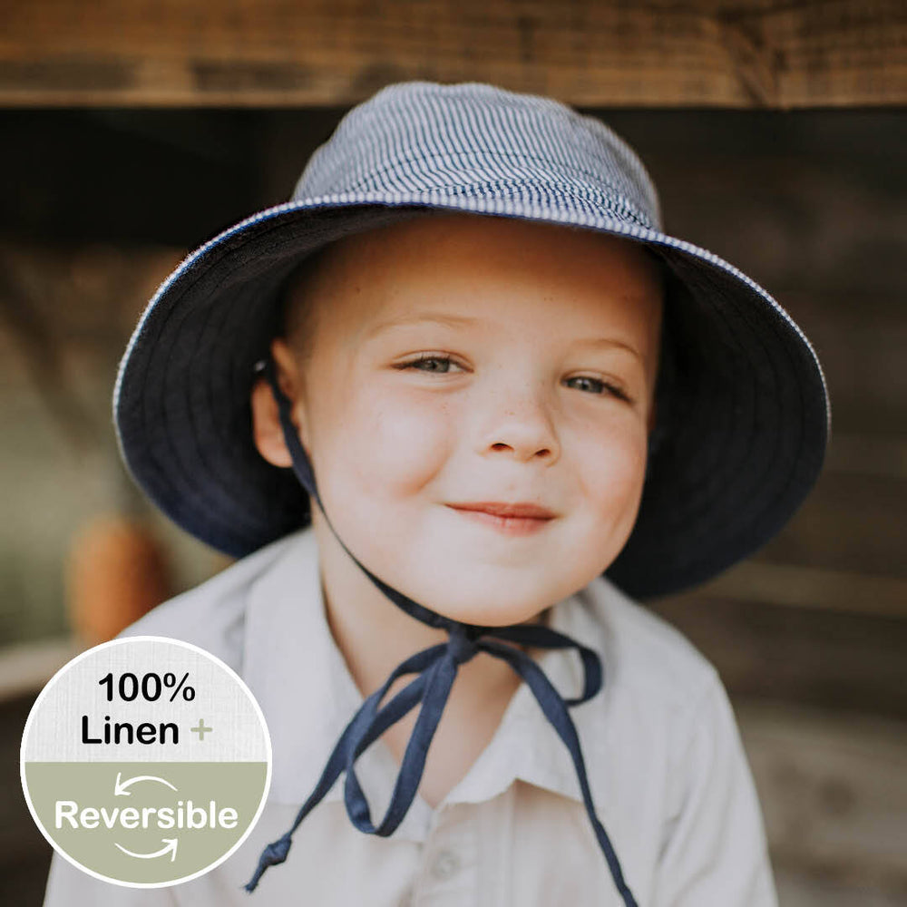Load image into Gallery viewer, Kids Reversible Bedhead Hats Sun Hat (Charlie / Indigo)