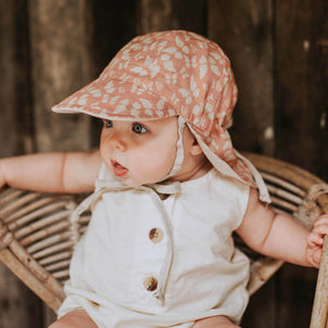Load image into Gallery viewer, Reversible Bedhead Hats 'Lounger' Baby Flap Sun Hat (Nessie / Flax)