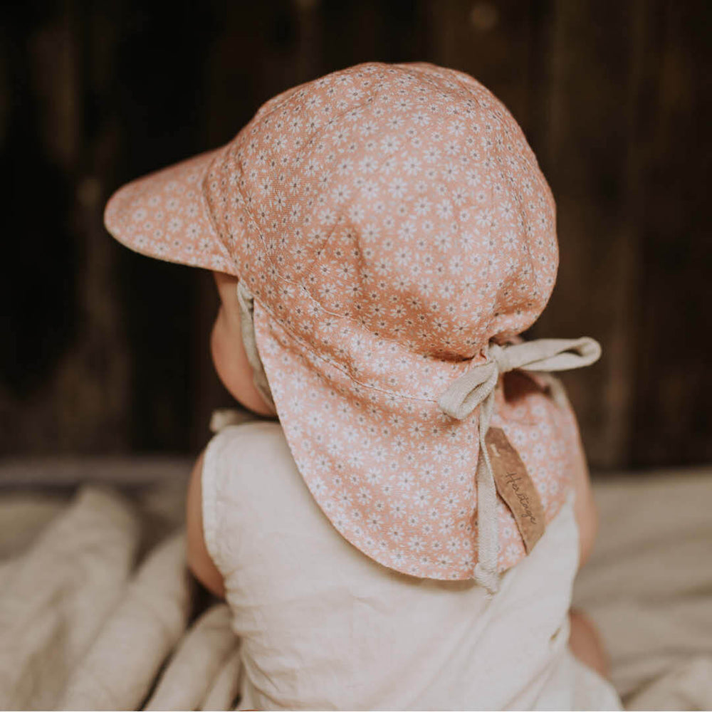 Reversible Bedhead Hats Baby Flap Sun Hat (Polly / Flax)