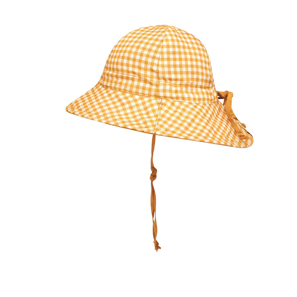 Kids 'Wanderer' Reversible Bedhead Hats Sun Hat (Gingham / Maize)