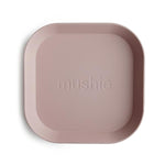 Mushie Dinnerware - Square Dinner Plates Set of 2 (Blush)