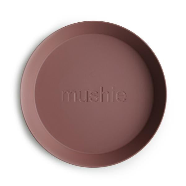 Mushie Dinnerware - Round Dinner Plates Set of 2 (Woodchuck)