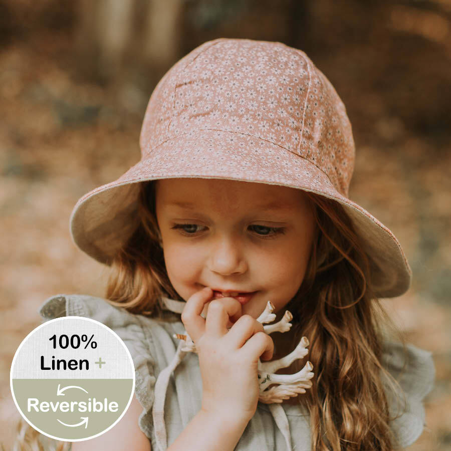 Kids 'Wanderer' Reversible Bedhead Hats Sun Hat (Polly / Flax)