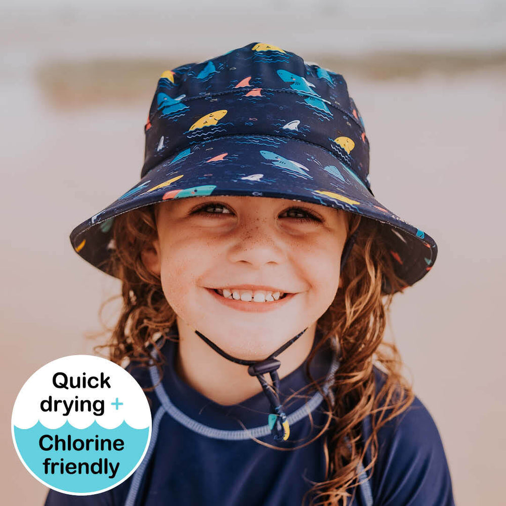 Kids Beach Bedheads Hat Bucket Hat Shark Print (Swim)