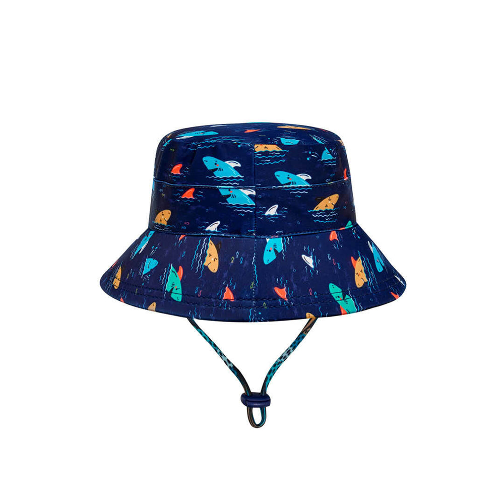 Load image into Gallery viewer, Kids Beach Bedheads Hat Bucket Hat Shark Print (Swim)