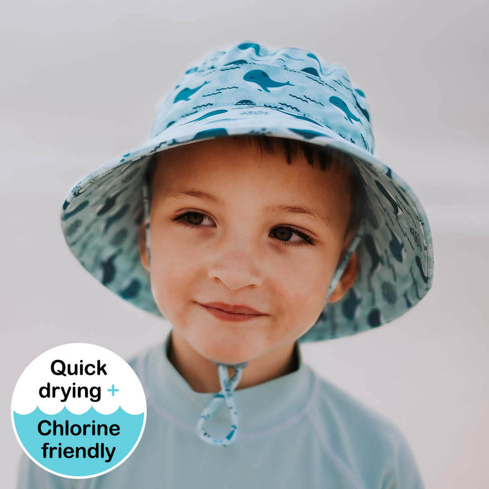 Kids Beach Bedheads Hat Bucket Hat Whale Print (Swim)