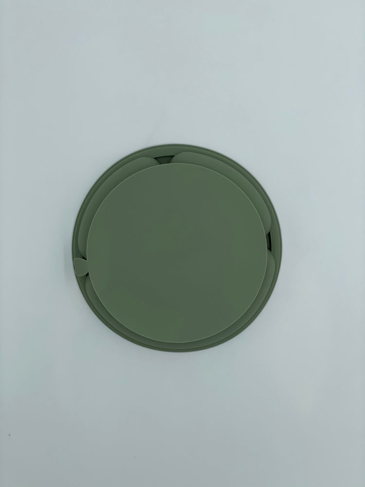 Silicone Suction Divided Plate - Sage