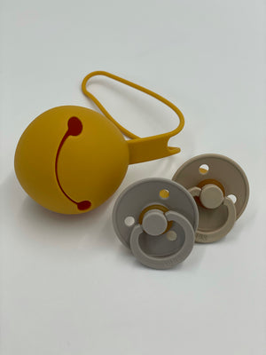 Load image into Gallery viewer, Silicone Dummy / Pacifier Holder Case - Mustard