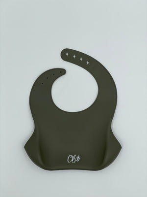 Load image into Gallery viewer, Silicone Bib - Khaki Green