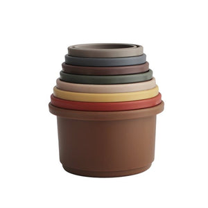 Load image into Gallery viewer, Mushie Stacking Cups Toy - Retro Colours