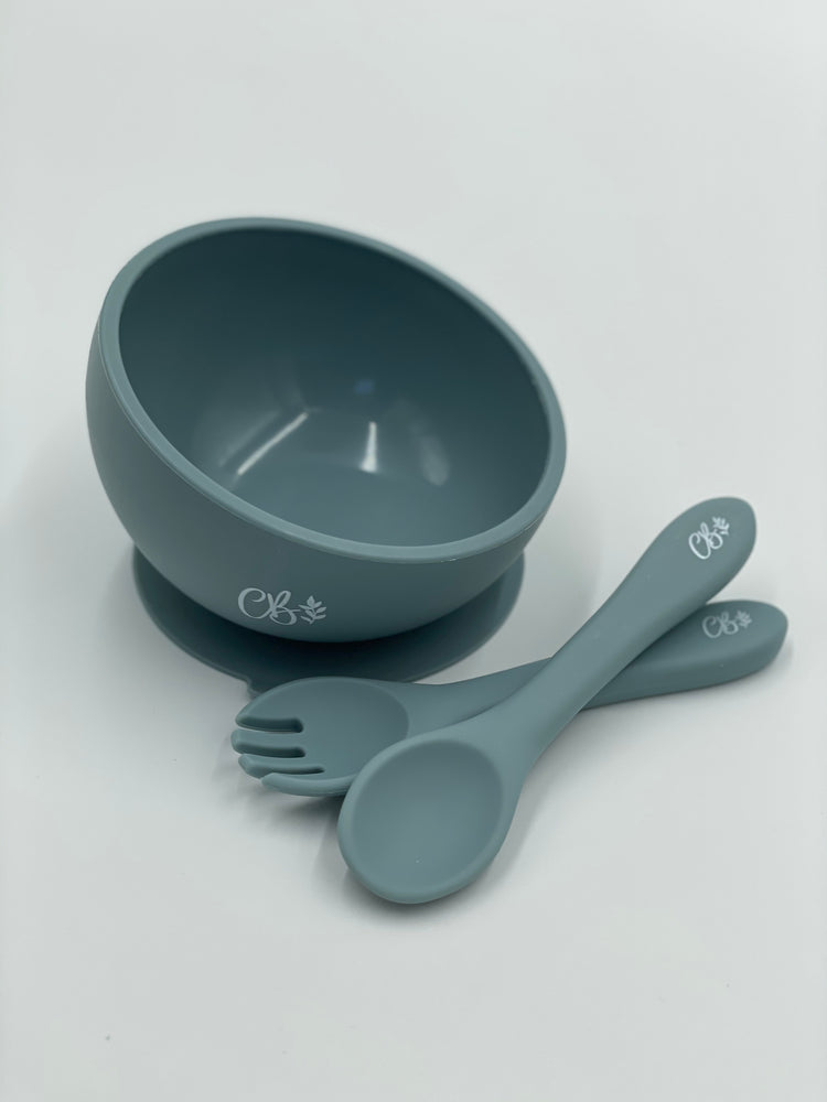 Silicone Suction Bowl + Fork & Spoon - Dusty Blue