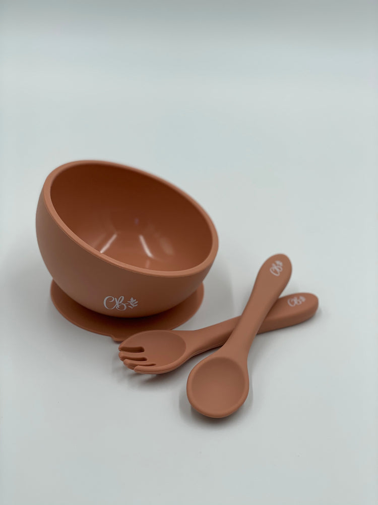 Silicone Suction Bowl + Fork & Spoon - Peach
