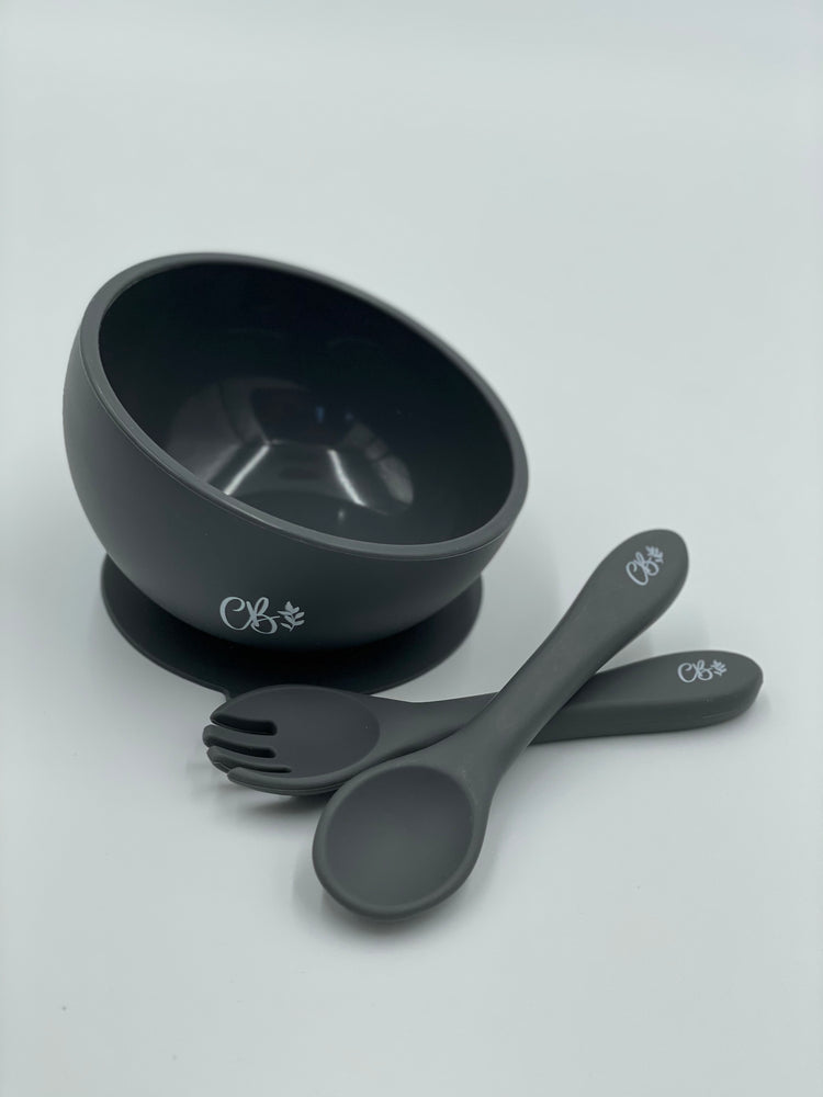 Silicone Suction Bowl + Fork & Spoon - Charcoal