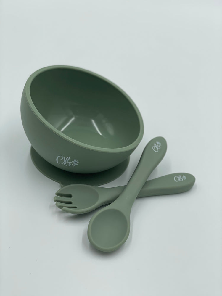 Silicone Suction Bowl + Fork & Spoon - Sage