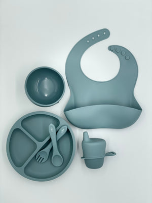Ultimate Feeding Set (Without Snackie Cup) - Dusty Blue