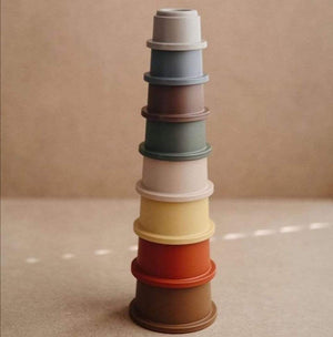 Mushie Stacking Cups Toy - Retro Colours