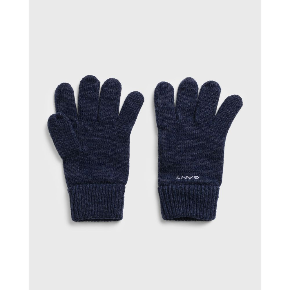 KNITTED WOOL GLOVES Marine