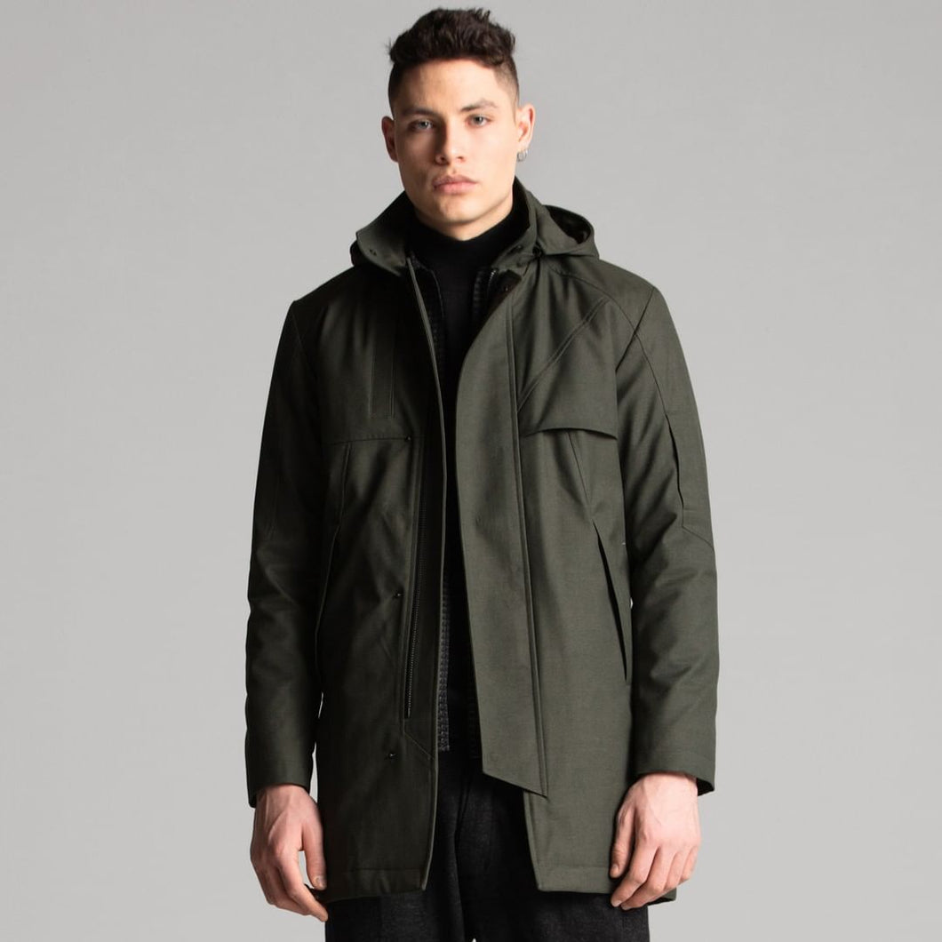 Mens parka long Oliven