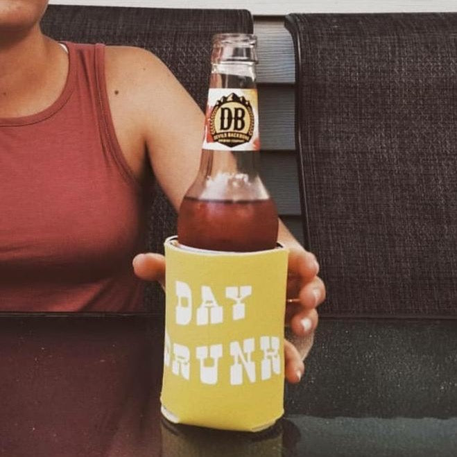 Day Drunk Koozie YELLOW