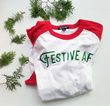 Load image into Gallery viewer, Festive AF Holiday raglan tee shirt ADULT