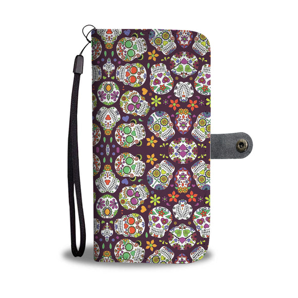 LUCKY SUGAR-SKULL PHONE WALLET CASE - POSHNPRINTS