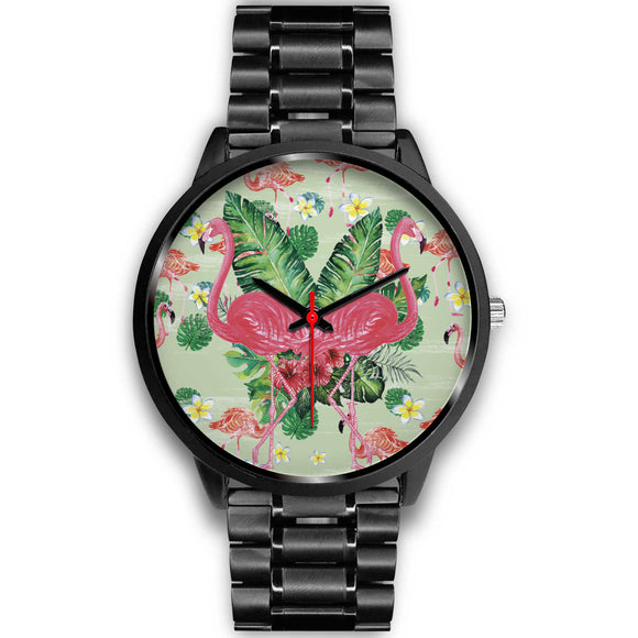 Awesome Floral Flamingo Black Watch - POSHNPRINTS