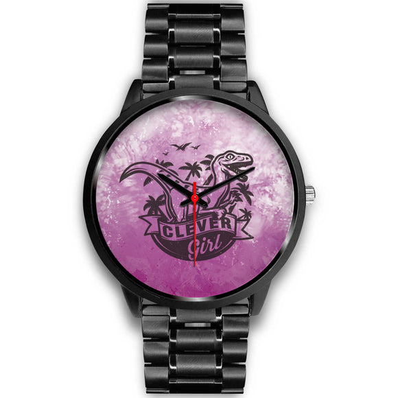 Awesome Pink T-rex Black Watch - POSHNPRINTS