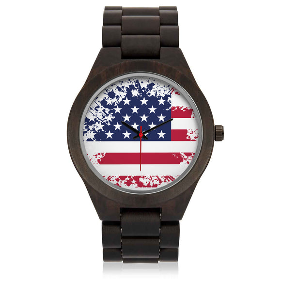 Custom US Flag Sandalwood Watch - POSHNPRINTS