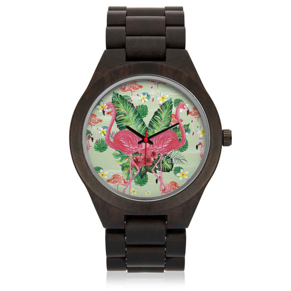 Custom Flamingo Sandalwood Watch - POSHNPRINTS