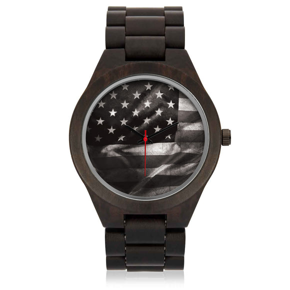 Custom US Black Flag Sandalwood Watch - POSHNPRINTS
