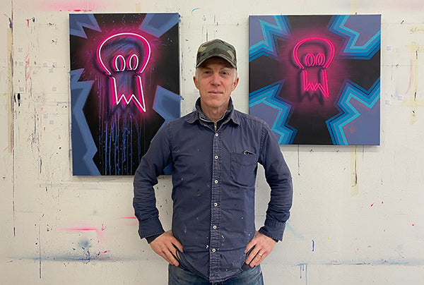 Mike Edwards Releases 'Startled Artist' Neon Paintings