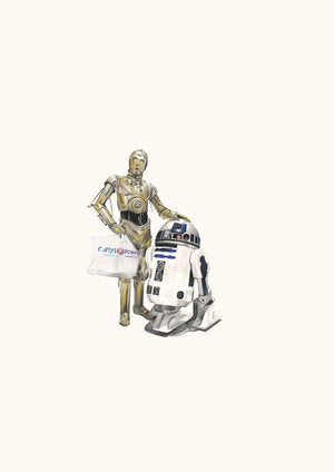 C3PO and R2D2 artwork by Zoe Moss